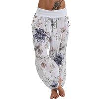 düğme bacağı toptan satış-Sıcak Yeni Moda Kadınlar Casual Baskı Pantolon Geniş Bacak Pantolon Gevşek Cep Düğme Harem Pantolon Toptan Freeship N4