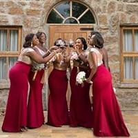 vestidos de dama de honra ouro vermelho venda por atacado-Africano 2019 Rose Gold Lantejoulas Top Chiffon Vermelho Sereia Da Dama De Honra Vestidos Longo Empregada Doméstica De Honra Do Convidado Do Casamento Vestido Custom Made
