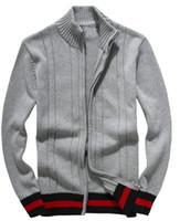 ingrosso maglione a maglia del manicotto del ricamo-Maglioni di svago degli uomini nuovi 2019 maglione di ricamo lussuoso maglioni di alta qualità manica lunga Pullover maglione maglia tinta unita