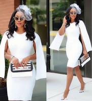 vestido simples de bainha de marfim venda por atacado-2020 Nova Vestidos Mulheres Simples Cocktail Jewel Long Neck mangas brancas Ivory Bainha Prom vestidos na altura do joelho vestido de festa Baile Vestidos