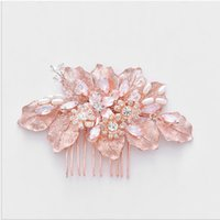 Wholesale rhinestone feather hair comb wedding for sale - Group buy Rose Golden Leaf Bride Beautiful Hair Comb Wedding Dress Accessory Studio Photographic Headdress