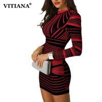 elbiseler siyah kırmızı kısa parti toptan satış-VITIANA Kadınlar Kısa Bodycon Parti Elbise Kadın 2018 Kış Uzun Kollu Kırmızı Siyah Çizgili Baskı Zarif Kalem Kulübü Casual Elbise
