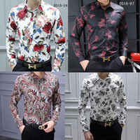 Wholesale red fancy dress sleeves resale online - HOT Brand Men s Casual Shirts Fashion Harajuku Dress Suit Shirt Men Luxury Slim shirt Medusa Black Gold Fancy D Print Slim Fit Shirts