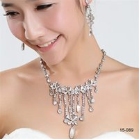 Wholesale crystal necklaces for women for sale - Group buy Hot Sale Holy Rhinestone Crystal Flower Earring Necklace Set Bridal Party Lobster Clasp Cheap Jewel Sets for Prom Evening Women