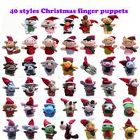 пальцы животных оптовых-40 конструкций рождественские пальцы Куклы Плюшевые игрушки Санта-Клаус куклы Рождественские Животные рождественские персонажи Семья Пальцы наборы Родитель-ребенок т