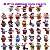 personajes de peluche de navidad al por mayor-40 diseños de Navidad Dedos de las marionetas juguetes de peluche de Santa Claus muñecas de Navidad Animales caracteres de la Navidad dedos familia fija entre padres e hijos t