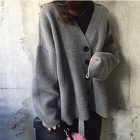 b9b246f5c3 Wholesale thick wool sweaters women online - New arrival Korean loose knit  cardigan v neck Thick