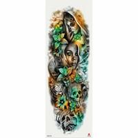 ingrosso rose gialle false-Tatuaggio temporaneo 1 pezzo Tatuaggio temporaneo con teschio giallo con teschio
