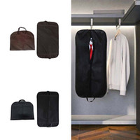 Wholesale suit bags wardrobe resale online - Thick Non woven Fabric Dustproof Suit Carrier Garment Bag Dustproof Cover Breathable Bag Wardrobe Organizer Folding Protector