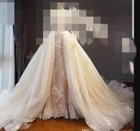 New For Chioma Ezera_149489301 A Line Wedding Dresses Appliques Lace Tulle Court Train Overskirts Detachable Train Long Formal Bridal Gowns