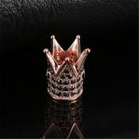 Wholesale cubic zirconia metal spacer bead for sale - Group buy 8 Styles Crown Beads DIY Copper Metal Pave Cubic Zirconia Crown Spacer Bead Rose Gold Color For Men Beaded Bracelet Making Accessories N22Y