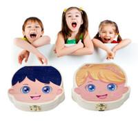 ingrosso pittura bambina-Immagazzinaggio colorato Baby Dente Scatola di immagazzinaggio per bambini Baby Save Milk Denti Ragazzi ragazze Immagine Legno Organizer Deciduo Denti Scatole regalo creativo