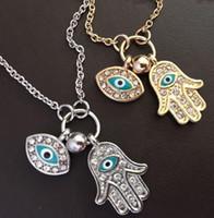 göz yadigarı kolye toptan satış-Altın Zincir Kolye Türkiye Mavi Nazar Kolye Hamsa El Fatima Palm Kolye Kolye