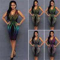 ingrosso vestiti arcobaleno da donna-Vestito sexy dall'anca del pacchetto di vendita del vestito da sera del partito di nuova di colore dell'arcobaleno di stile della fasciatura di estate delle donne del nuovo di stile