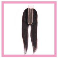 productos crudos al por mayor-Indian Raw Virgin Hair Lace Closure 2X6 Color natural del cabello humano Recto 2 * 6 Cierre con el pelo del bebé Top Products