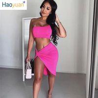 kadınlar için kulüp giyim toptan satış-HAOYUAN Yaz 2019 Neon 2 Parça Set Kadın Giyim Kırpma Üst ve Düğümlü Yarık Midi Etek Eşleştirme Setleri Seksi Iki Adet Kulübü Kıyafetler
