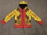 fermuar halatı toptan satış-19ss Fransa Paris sonbahar ve kış lüks altın renkli desen kapüşonlu fermuarlı ceket şapka teleskopik halat erkek tasarımcı üst etiketi sıcak satış vardır