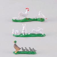 zakka hayvanlar toptan satış-Tavuk Tavşan Ördek Çiftliği Hayvan Minyatür Etli Kaktüs Dekorasyon Peri Bahçe Aksesuarı Moss Teraryum Peyzaj DIY Zakka Malzeme