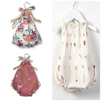 Wholesale baby clothing outfits for sale - Newborn Baby Girl Romper Hanging Neck Crawl Rompers Summer Designer Jumpsuit Sleeveless Infant Clothes Toddler Boutique Outfit A2203