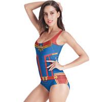 mode badeanzüge großhandel-Fashion-2019 New Marvel The Avengers 4 Überraschung Kapitän Cosplay Kostüm Bikini Badeanzug