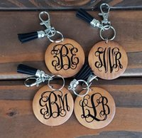 Wholesale round metal keychain resale online - Personalized wood disc keychain monogram monogrammed wooden disc with tassel keychainmonogrammed wooden blank round with black tassel keych