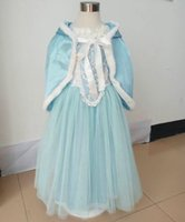 Wholesale baby blue winter formal dresses for sale - Group buy Fancy kids clothes for Christmas Party Costume Snow Queen Cosplay baby girl dress with cape winter warm dress up