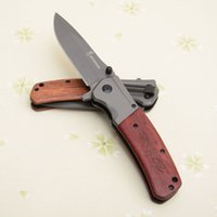 Wholesale wood handle folding knives resale online - Christmas gift Browning Flipper Knife Cr15 HRC Blade EDC Folding Pocket Knives Wood Handle quot Closed Outdoor Camping gear J106M Q