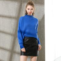 сетевая одежда оптовых-Pop2019 Woman Easy Pattern Ins Network Red Half High Lead Прочая одежда Вязание блузок и дымчато-синий свитер Европейский костюм
