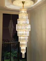 große kronleuchter beleuchtung großhandel-Kristall Großer Kronleuchter Beleuchtung Treppen Langer Kronleuchter Pendelleuchte Wohnzimmer Villas Treppenhaus Hotel Lobby Leuchten Hängeleuchten