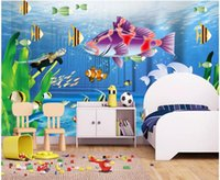 Wholesale paintings oceans for sale - Group buy WDBH d wallpaper custom photo Ocean World Fish Children s Room background home decor painting d wall murals wallpaper for walls d