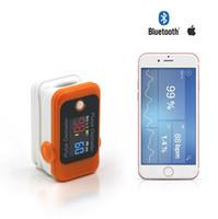 ingrosso monitor ossigeno dell'ossimetro di impulsi-Schermo LCD Bluetooth Heart Rate Fingertip Pulse Oximeter free App CE e FDA approvati