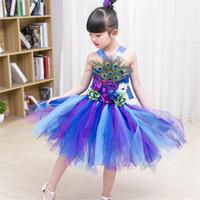 bebek kız tüyü tutu elbiseler toptan satış-Prenses Kızlar Peacock Feather Tutu Elbise Fotoğraf Prop Cadılar Bayramı Kostüm Bebek Çocuk Doğum Günü Partisi Elbise