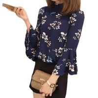 koreanische blüten-chiffon-bluse großhandel-Crazy2019 Herbst Floral Chiffon Bluse Frauen Tops Flare Sleeve Shirt Frauen Damen Büro Bluse Korean Dishy Blusas Chemise Femme
