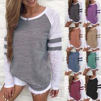 beyzbol gömlek uzun kollu toptan satış-S-5XL boyutu Kadınlar Çizgili Ekleme Beyzbol Tshirt Bahar Moda O Boyun Uzun Kollu Üst Tee Tüm Eşleşmiş T Gömlek Analık Üstleri tee Artı Boyutu