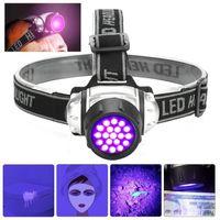 ultraviolett-fackeln großhandel-UV Lila LED Scheinwerfer UV Taschenlampe 395nm UV Regenschutz Scheinwerfer 3AAA Batterie Camping Jagd Stirnlampe Lampe