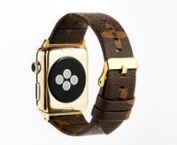 impressão de tiragem de relógios venda por atacado-Designer Grid Bands pulseira de couro para bandas de relógio da Apple iwatch S1 S2 S3 S4 38 40mm 42 44mm relógio inteligente Belt + fivela de luxo impresso GSZ504