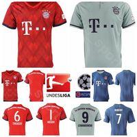 ingrosso uomini calcio t shirts-FC Bayern Munich Soccer 1 NEUER Jersey Uomo Red Home Green 6 THIAGO 7 RIBERY 18 GORETZKA 5 HUMMELS T-shirt da calcio Kits Uniforme