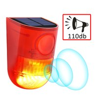 luces de advertencia de alarma al por mayor-Luz de alarma solar 110db 6 LED Lámpara solar Luces de advertencia solares a prueba de agua Lámparas de alarma de sonido con sensor de movimiento