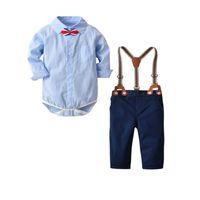 ingrosso bretelle per bambini-Drop-shipping New Baby Boys Abbigliamento Bambini Stampa scozzese Pagliaccetto con fiocco e bretelle Pantaloni Set di 2 pezzi Abbigliamento per ragazzi