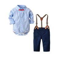Wholesale boys clothing sets army resale online - Drop shipping New Baby Boys Clothes Kids Plaid Printing Romper with Bow and Suspender Pants Piece Clothing Set Toddler Boys Outfit