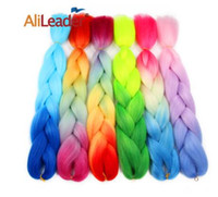 Wholesale ombre kanekalon braiding hair blue resale online - 24inches Kanekalon Jumbo Braids Ombre Blue Purple Red Synthetic Braiding Hair Crochet Braids Hair Extensions Hairstyles Colors