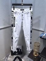 черные джинсы мужские классические оптовых-2019SS весна / лето классические джинсы черно-белые slim fit мотоциклист деним мужская одежда дизайнер стрейч высокое качество размер 29-40