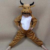 ingrosso costume della mucca-Cute Baby Cosplay Cartone animato Animale Mucca gialla Bovino Costume Prestazioni Abiti Vestito Giorno dei bambini Costumi di Halloween per bambini Bambini
