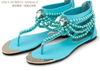 boncuk sandaletleri toptan satış-2019 Kadın Flats Sandalet Bohemian Etnik Dize Boncuk Inci Çevirme Kristal Plaj Yaz Konfor Ayakkabı Düğün Rahat sandal