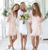 mini-robe-nachtwäsche großhandel-Hochzeit Brautjungfer Kleid Nachtwäsche Robes Personalisierte Glitter Druck-Kurzschluss Bademantel Bridesmaid Kimono Lange Pyjamas Summer Night Lady Robe