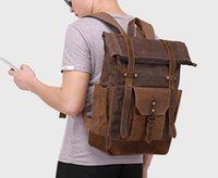 Wholesale grey wool backpack resale online - 2019 new Fashion Brand Women Leather Backpacks Student Shoulder Bag Large Capacity Men Travel Bags Ladies Satchel Outdoor Schoolbag Knapsack