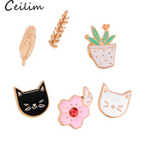Wholesale gold cat brooches resale online - Cute Cat Brooches Colorful Enamel Pins Badge For Clothes Colorful Cartoon Brooches Succulents Plant Cactus Jacket Bag DIY Badge