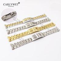 bilezik tarzı saatler toptan satış-CARLYWET 20mm Iki Ton Gül Altın Gümüş Katı Kavisli Sonu Vida Bağlantı Yeni Stil Glide Kilit Kapat Çelik Watch Band bilezik