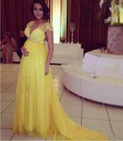 vestido largo de maternidad amarillo al por mayor-2019 amarillo brillante de manga corta de gasa largo vestido de noche para las mujeres de maternidad embarazada del partido formal Prom Vestidos Cuentas de Crystal Empire Banda