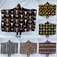 Wholesale raschel blankets resale online - Sunflower Printed Throw Blanket Double Layers Flannel Blanket Sunflower deer head stripe winter essentials child blanket nap carpert A04